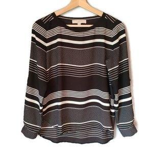 LOFT convertible sleeve blouse stripe polka dot S